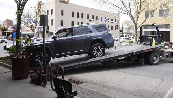 A two-vehicle crash in downtown Farmington on Tuesday slowed traffic.