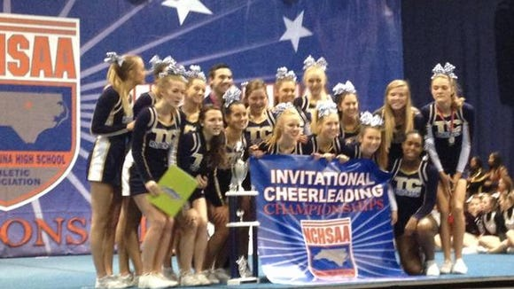 Roberson's cheerleaders won a state championship at Saturday's NCHSAA invitational in Raleigh.