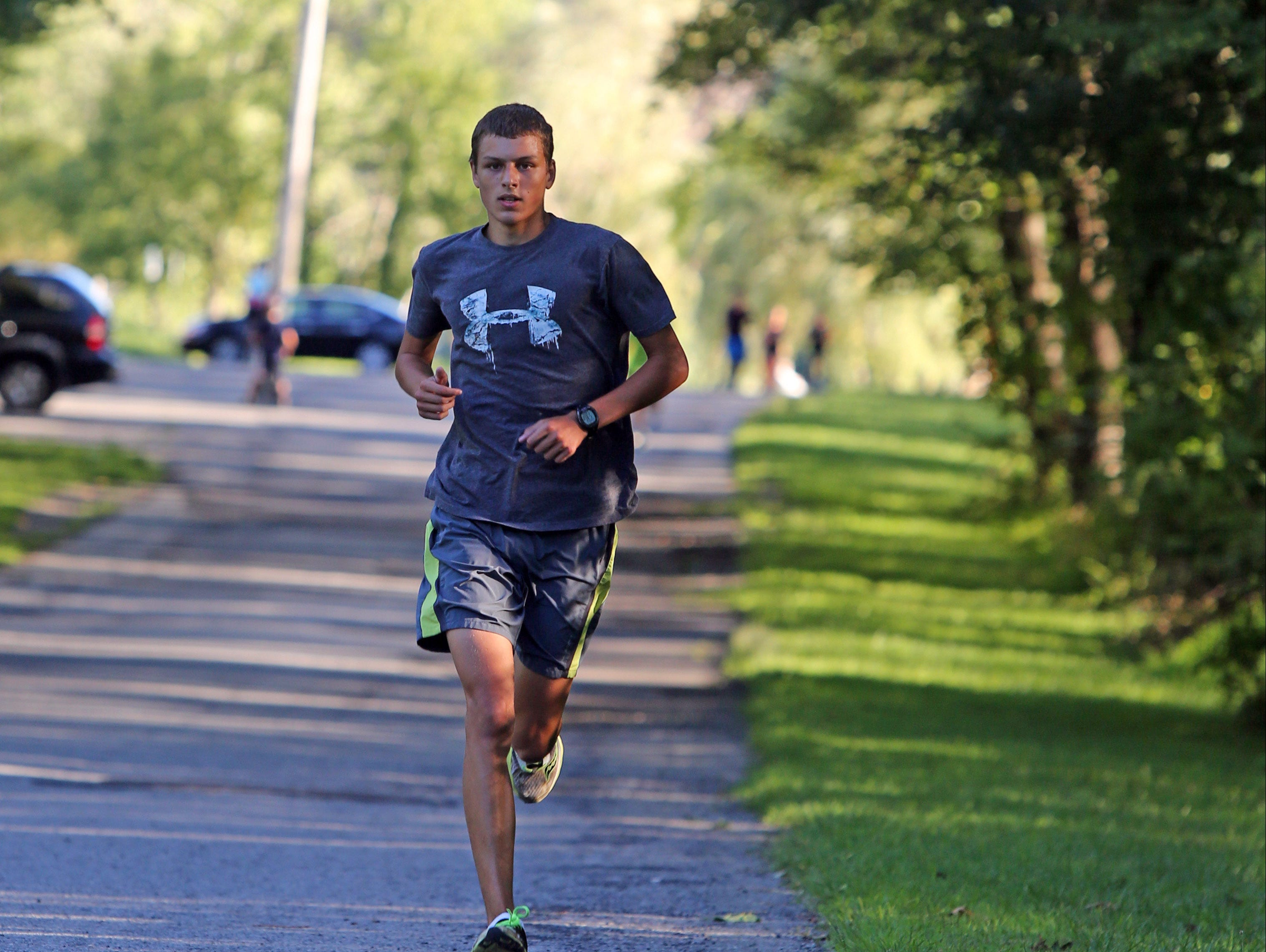 Senior Matt Sayre during The Lakeland/Panas boys and girls cross-country team practice at Downing Park in Yorktown on Aug. 22, 2016.