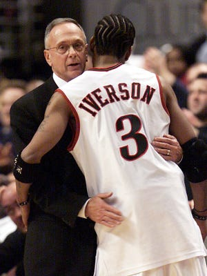 Larry Brown, left, coached Allen Iverson early in  the star point guard's career with the 76ers.