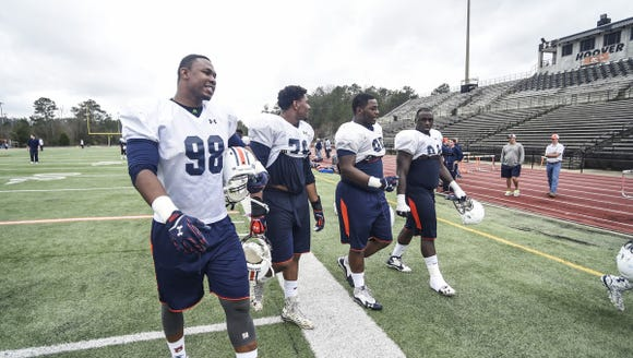Prince Tega Wanogho (98) Auburn football practice at