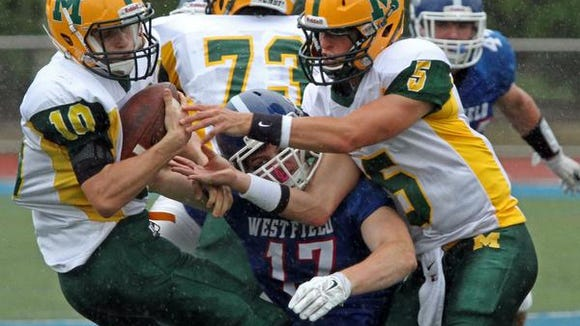 Montgomery's Wyatt Colangelo tries to break away from a tackle in action of Montgomery at Westfield in high school football, September 13 2014. Westfield NJ. Photo by Kathy Johnson BRI 0914 FB Montgomery