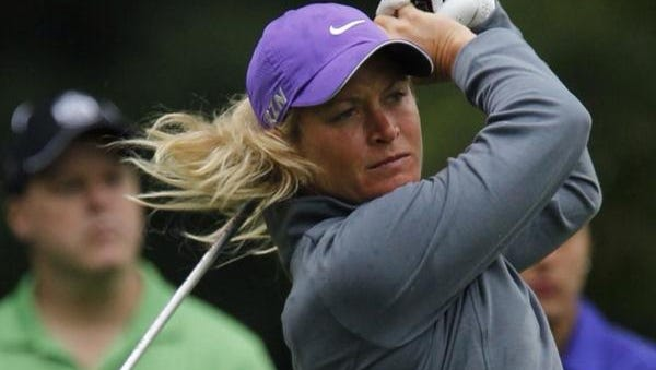 Suzann Pettersen tees off on 12 during the third round.