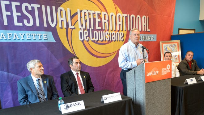 Terry Huval- Director of LUS Fiber speaking at press conference to announce that LUS Fiber will be the first-ever presenting sponsor of the iconic Festival International de Louisiane. Wednesday, Jan. 18, 2017.
