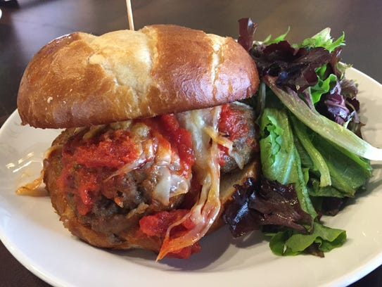 The Juggler sandwich at Mimi Blue holds  three meatballs