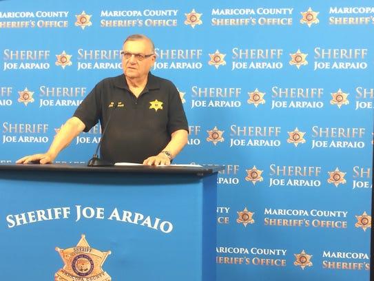 Maricopa County Sheriff Joe Arpaio talks to the media