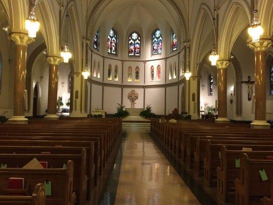 The interior of St. Patrick's Catholic Church in Washington,