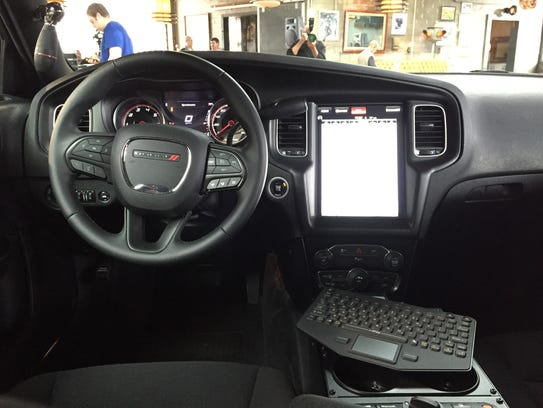Interior of 2016 Dodge Charger Pursuit with a new 12.1-inch