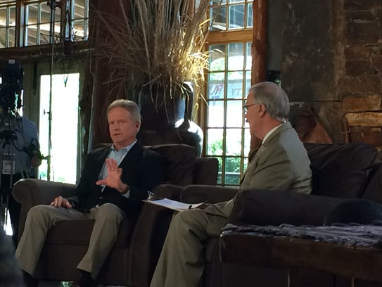 Former Sen. Jim Webb answers a question from the audience