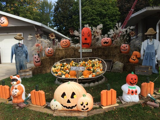 Bonita and Mike Wolosek's yard is decorated for the
