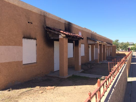 This vacant, burned-out apartment complex on the southwestern
