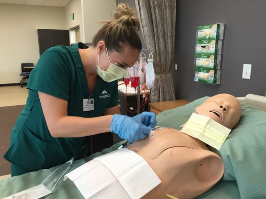 TMCC nursing student Brandee Daane worked in a lab at the William N. Pennington Health Science Center in 2015.