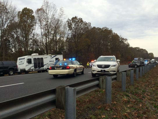 A crash involving multiple vehicles shut down eastbound
