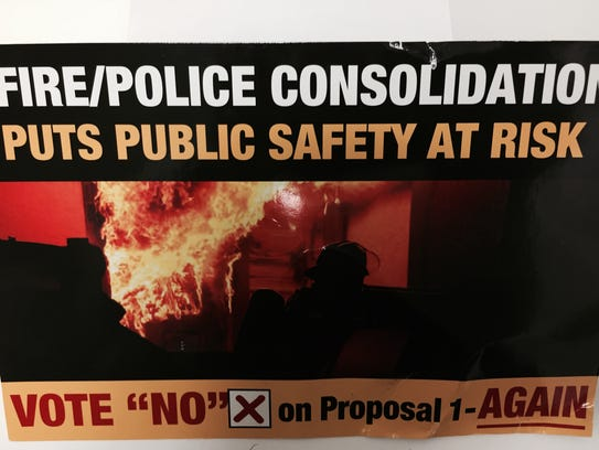 The Harper Woods firefighters union gave out this card