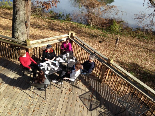 Patrons finish up lunch on the deck at Pemberton Coffeehouse