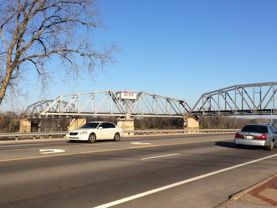 The turnstile bridge over the Cumberland River in Clarksville