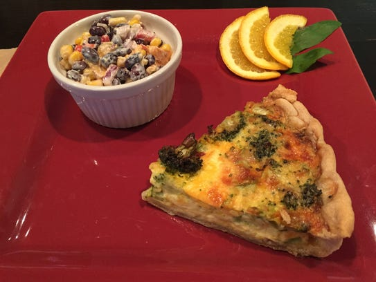 Broccoli quiche and black bean salad at the Greenhouse