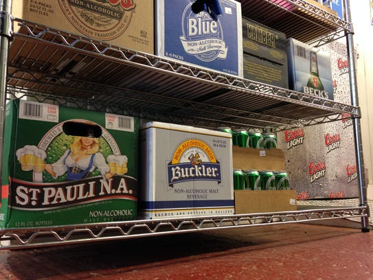 Cases of non-alcoholic beer are pictured at Brewskee's