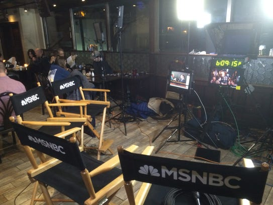 "MSNBC established a set for its show ""All In with Chris"