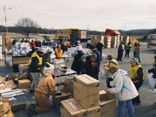 Convoy of Hope workers distributed supplies to flood