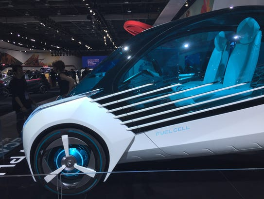 The hydrogen fuel cell-powered Toyota FCV Plus is among
