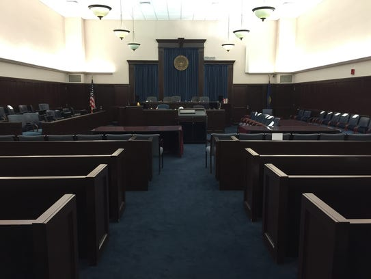 The main courtroom at U.S. District Court in Burlington.
