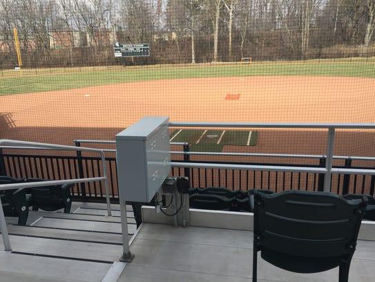 A metal box in the Secchia Stadium stands controls
