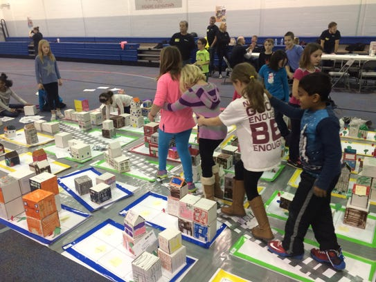 Students created a Box City of Fishers in the year