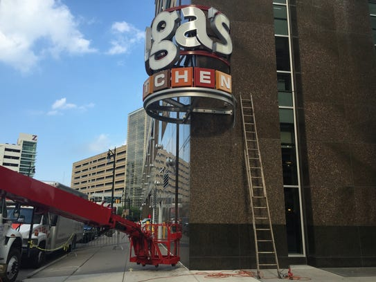 This Olga's Kitchen sign in downtown Detroit came down