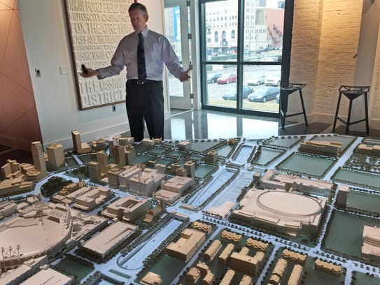 Olympia Entertainment's Tom Wilson looks over a Detroit
