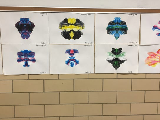 Student artwork hangs in the hallway at McSwain Elementary