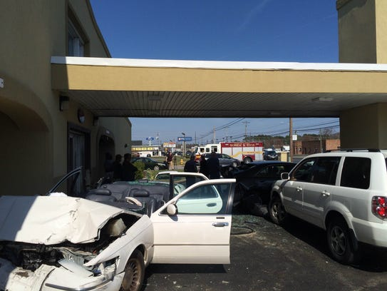 A car crashed into the Budget Inn on North Salisbury