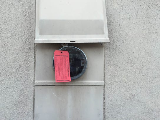 A tag on the electrical meter at a house in Palm Springs
