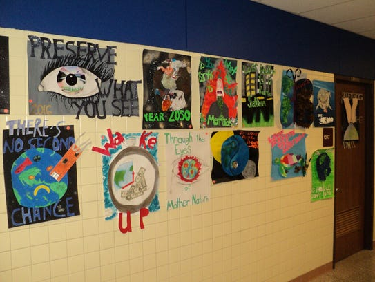Earth Day posters on display at Ben Franklin Junior