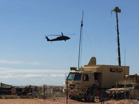 A Black Hawk helicopter gets ready to land at the 2nd