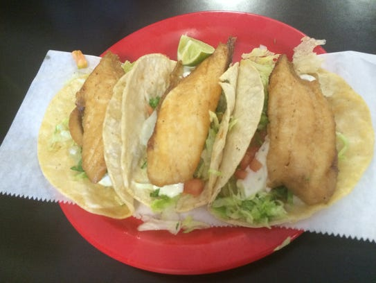 A plate of fish tacos at La Regia Taqueria on May 5,