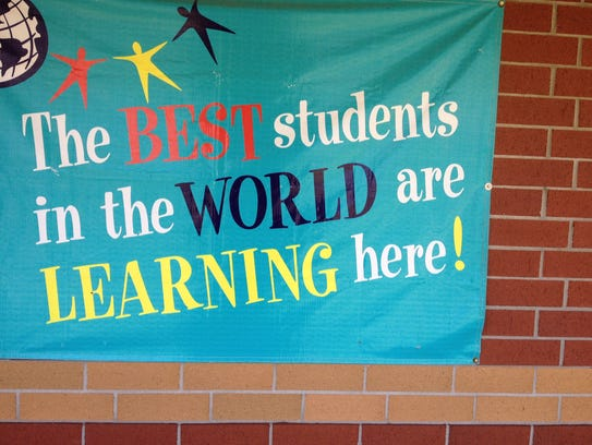 Slogan displayed on wall outside of Bond Elementary