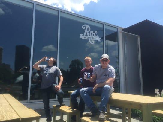 Nick Mesrobian, head brewer, left, Josh Hunt, assistant