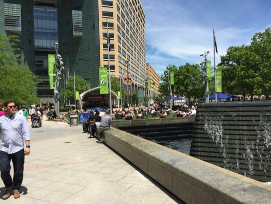Campus Martius park in downtown Detroit attracts a