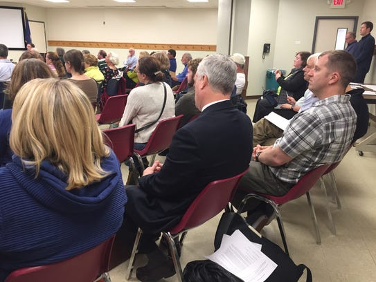 A crowd attends the South Burlington City Council meeting