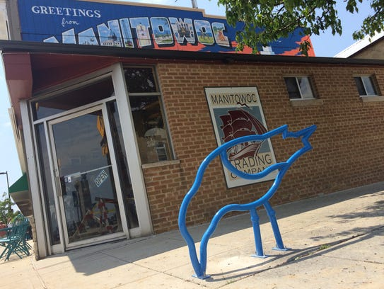One of the new downtown Manitowoc bike racks located