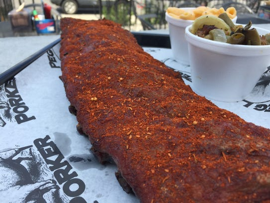 Dry-rubbed ribs from Peg Leg Porker