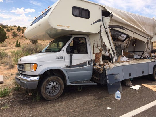 A motorhome is severely damaged after two 13-year-old