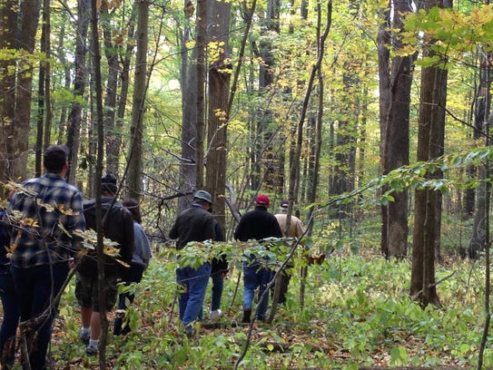 Visitors take a fall hike in Stout Woods.