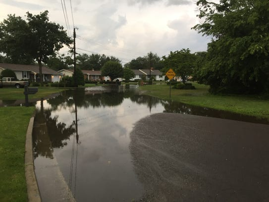Flooding on the 1000 block of Mayfair Court in Vineland.