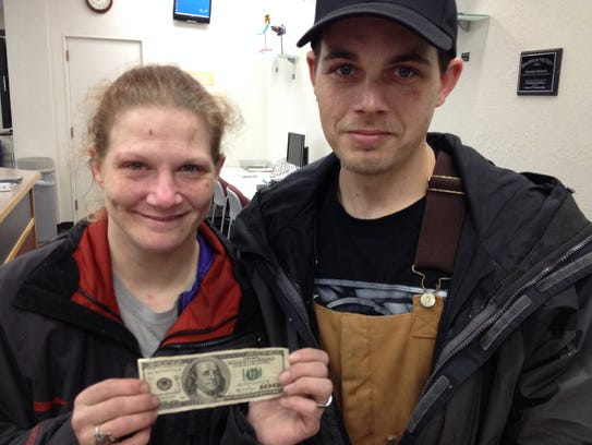 A homeless couple found a $100 bill and used it to