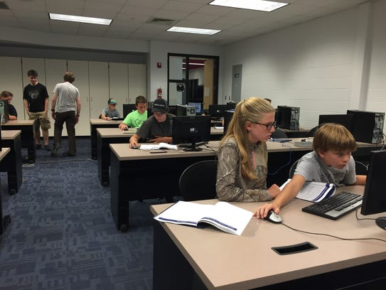 Students working on their computers during the 2016