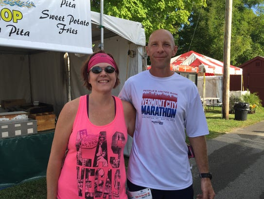 Jeff Jodion, 48, who won the race, with Norma Jodoin