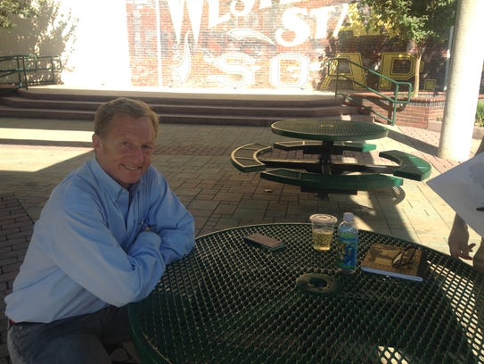 Tom Steyer in downtown Redlands, California, on Aug.