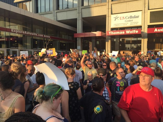 Donald Trump supporters entered the U.S. Cellular Center